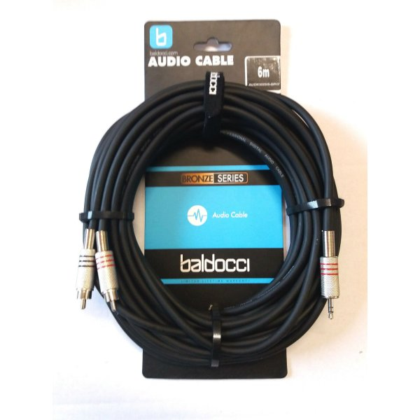 Adapterkabel 2x Cinch auf 3,5mm Klinke (Stereo) - 6m - Baldocci